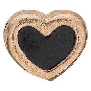 Black Enamel Heart forgyldt 925 sterling sølv  Collect urskive pynt smykke fra Christina Collect